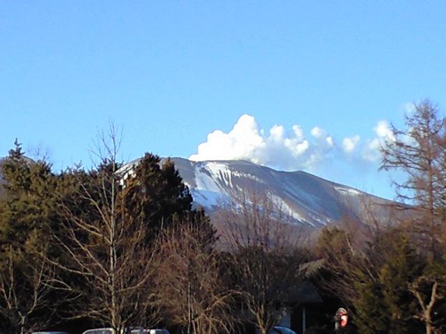 浅間山噴火中