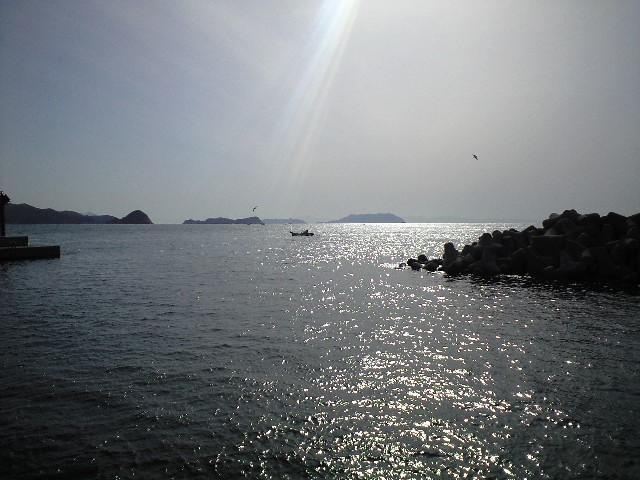 祝島の港にて
