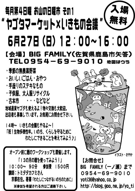 6月27日 ヤゴタマーケット+いきもの会議+暦のワークショップ @佐賀県鹿島