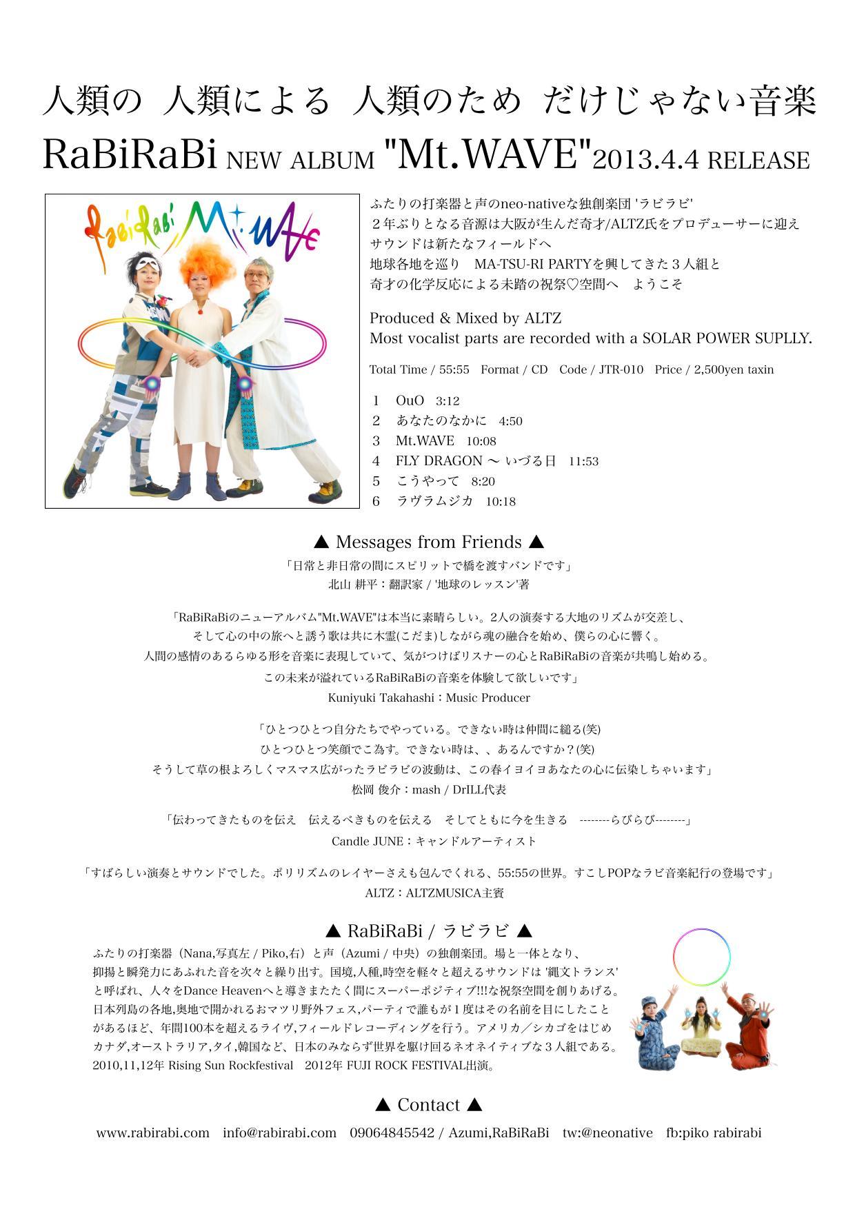 """RaBiRaBi NEW ALBUM """"Mt.WAVE""""2013.4.4 RELEASE"""