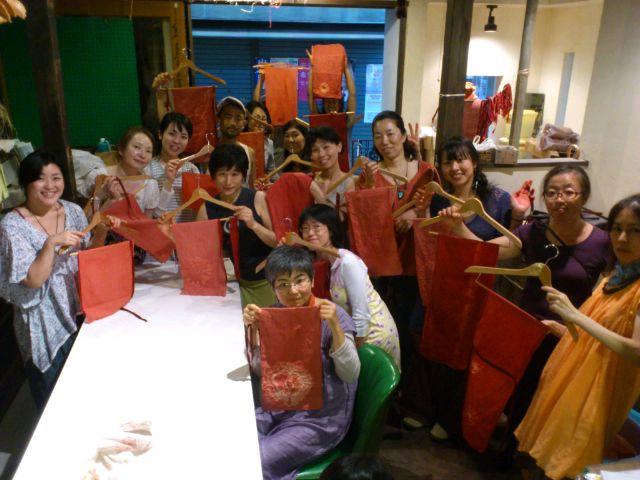 @冨貴工房。茜染め麻褌作りワークショップ。ありがとうございました。