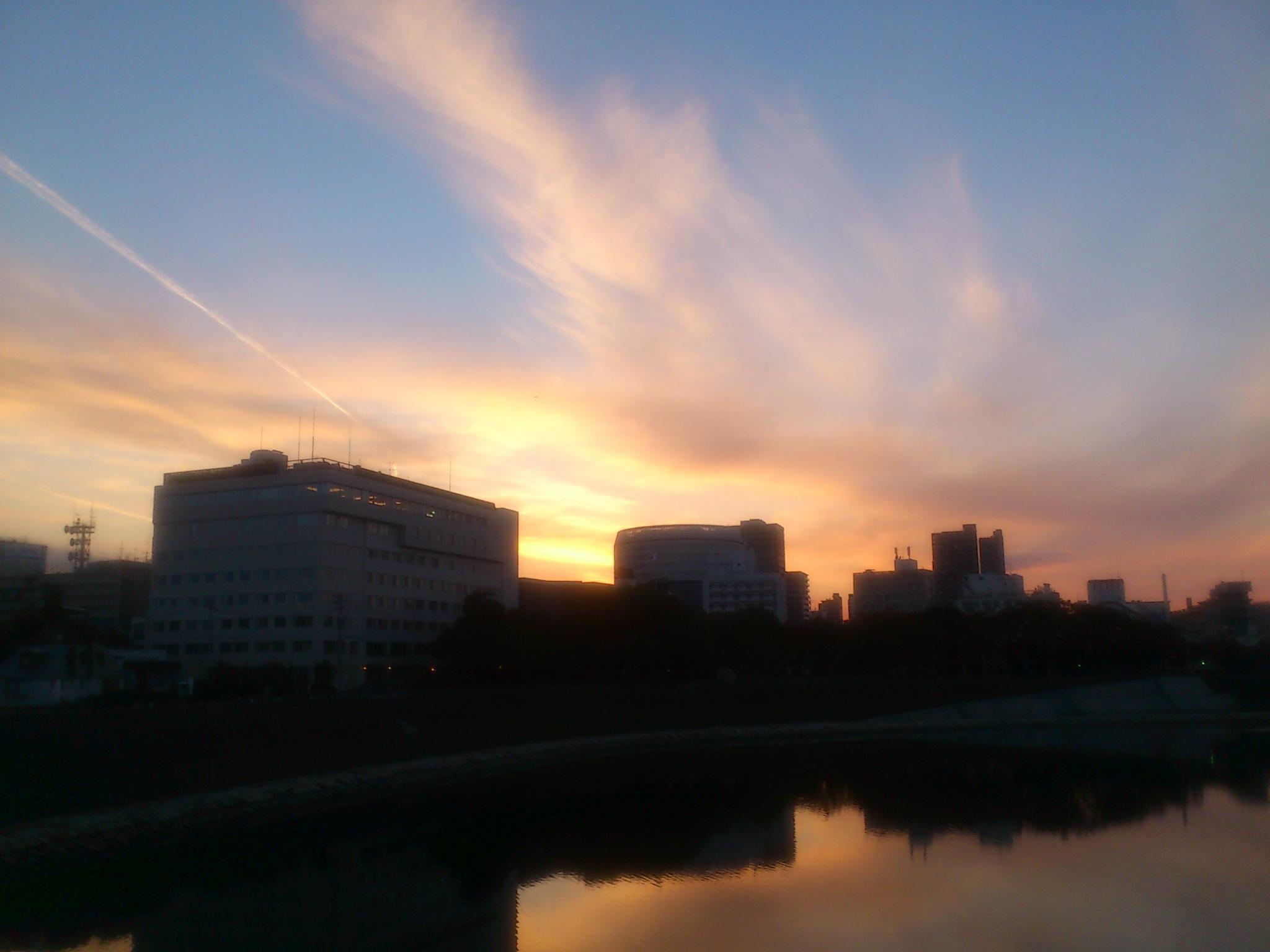 夕陽@岡山
