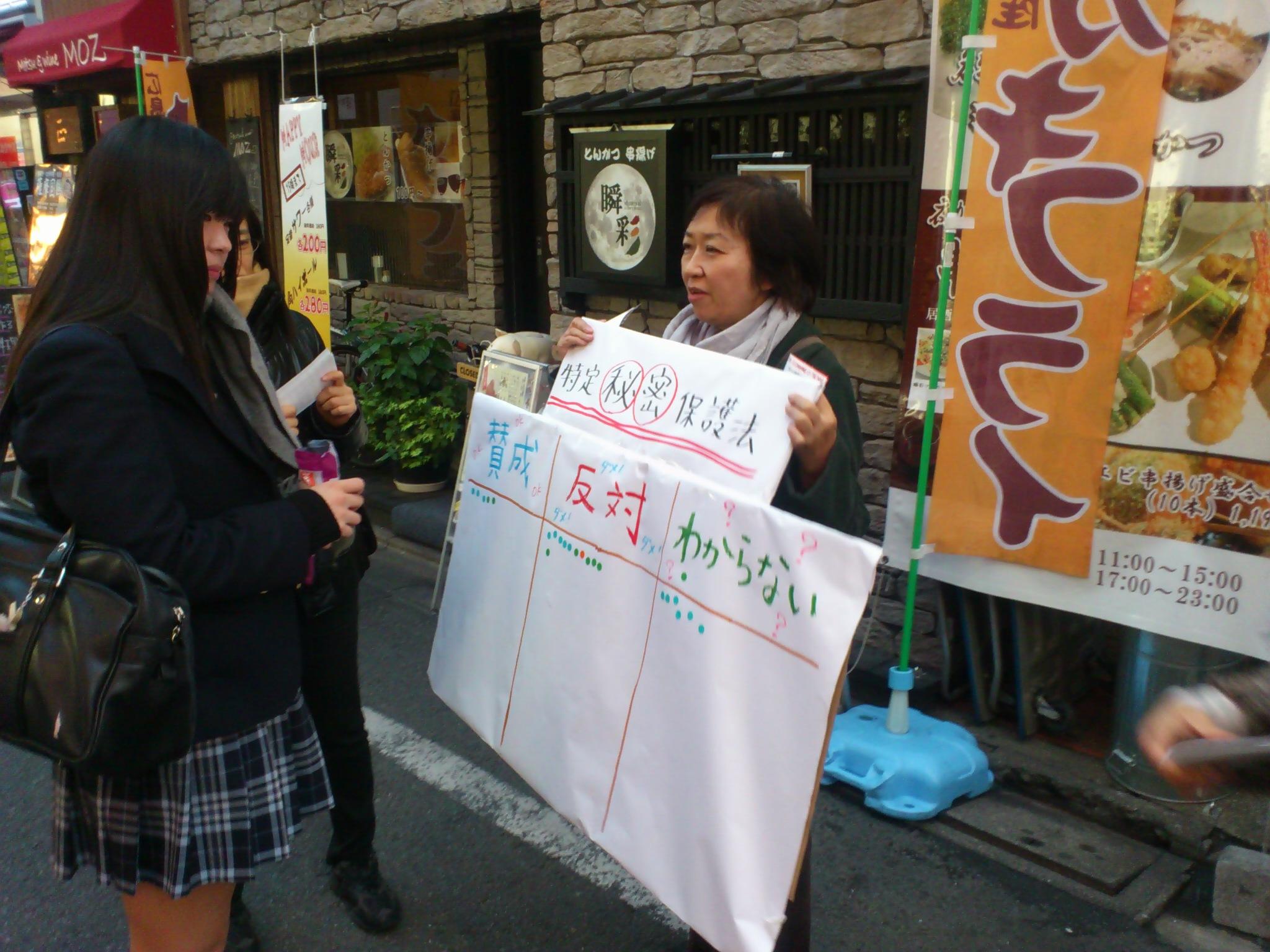 「みんなでつくる民主主義」街頭アクション編。三軒茶屋商店街で秘密保護法シール投票やってます。
