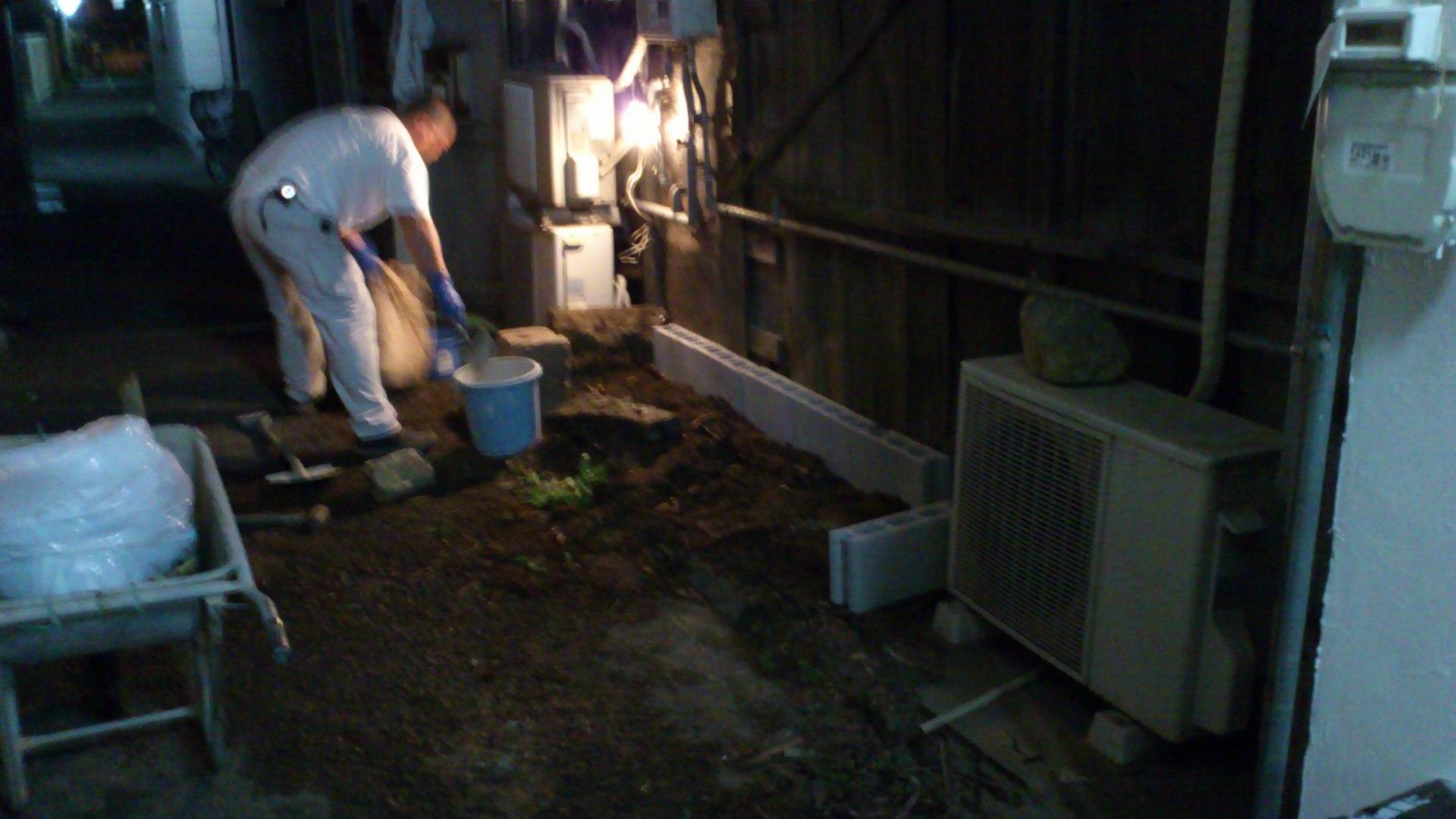 工房にて夜間工事。藍畑完成☆